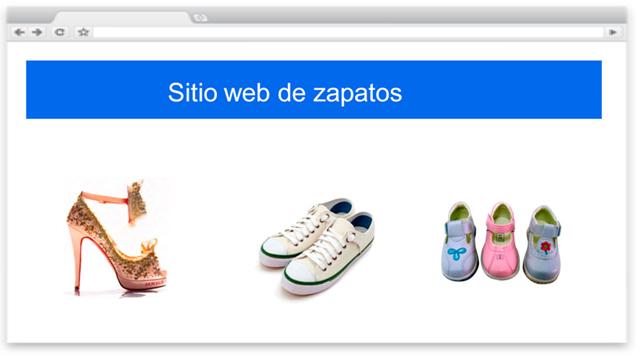 Ejemplo de sitio web de zapatos